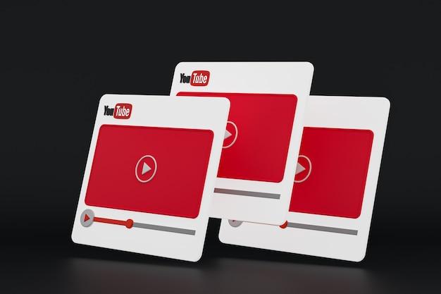 Youtube-videospeler 3d-ontwerp of video-mediaspelerinterface