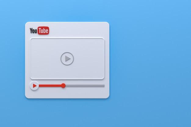 Youtube-videospeler 3d-schermontwerp of interface voor videomediaspeler