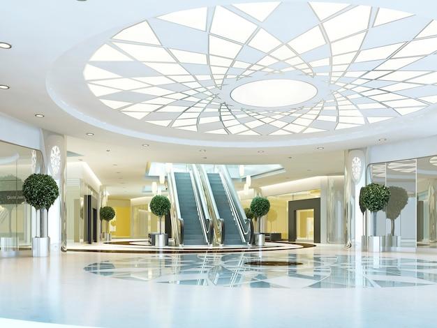 Zaal in megamall-winkelcentrum in een moderne stijl. verlaagd plafond met lichtpatroon. vloer met marmerpatroon. roltrap naar het tweede niveau. 3d render.
