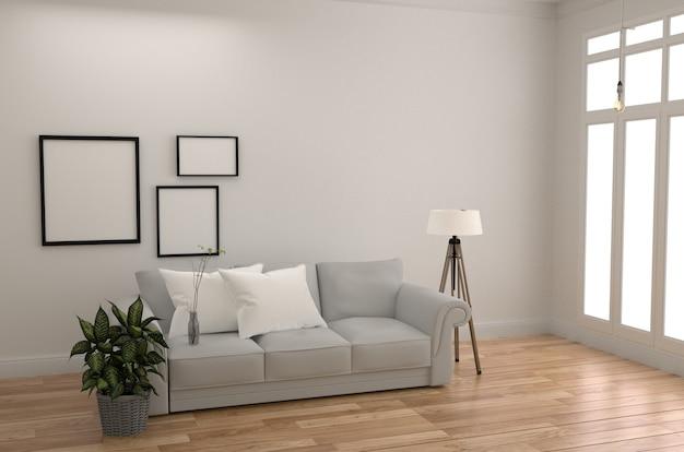 Zaal scandinavische stijl met houten vloer op lege witte muurachtergrond. 3d-rendering