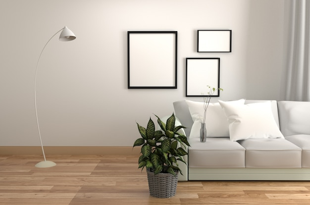 Zaal scandinavische stijl met houten vloer op lege witte muurachtergrond.