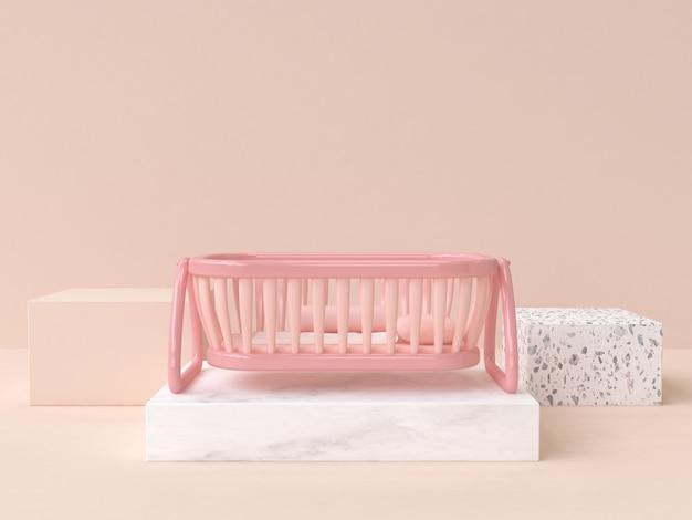 Zacht roze baby wieg cartoon stijl 3d-rendering