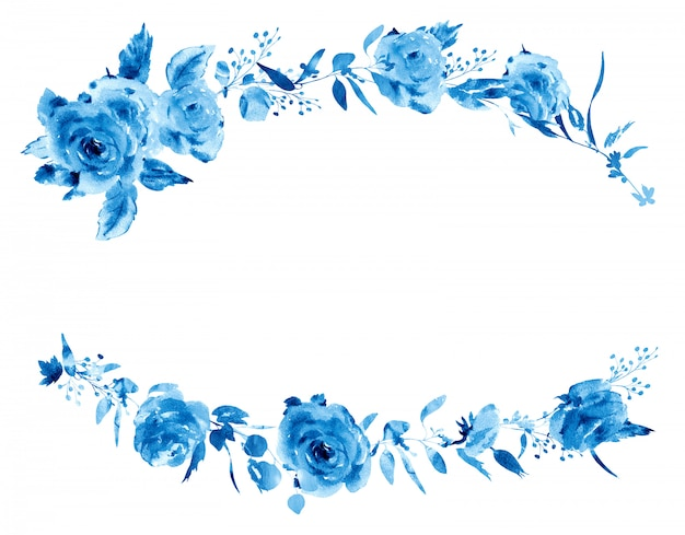 Zachte aquarel roos bloemen krans in een la prima stijl. rode, gele, gouden aquarel rozen - bloemen, twijgen, bladeren, knoppen