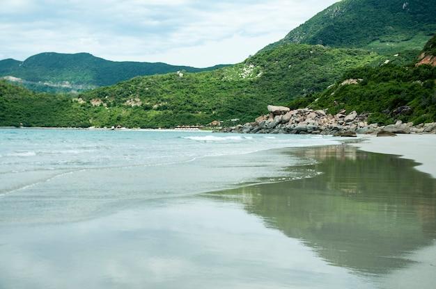 Zachte golf van blauwe oceaan op een zandstrand. met de vervaging. toning.