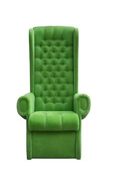 Zachte groene fauteuil met hoge rugleuning groene velours stoel troon geïsoleerd op wit