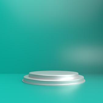 Zachte groene kleur 3d-achtergrond met podium voor product-showcase