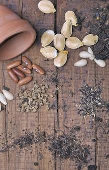 Zaden voor zaailingen op plank