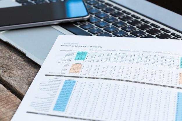 Zakelijk en financieel rapport tonen.