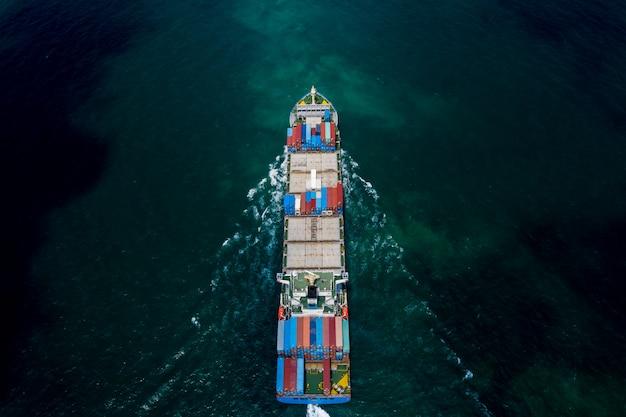 Zakelijk transport verzending vrachtcontainers oceanen schrikken