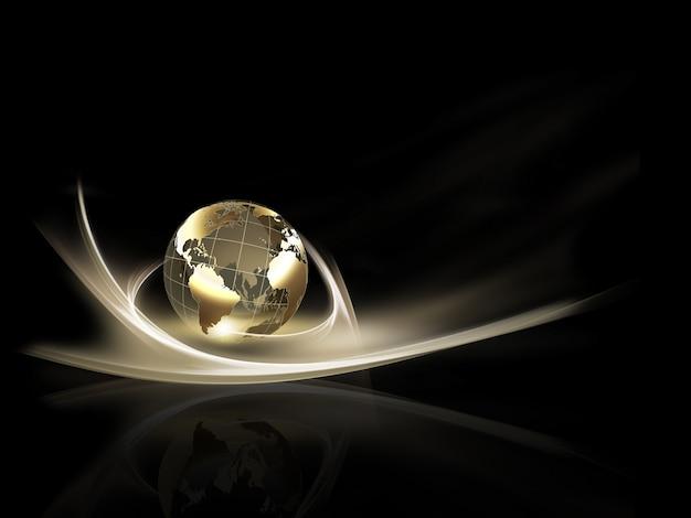 Zakelijke achtergrond met gouden planeet tegen het donker