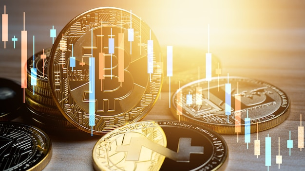 Zakelijke bitcoin met grafiek