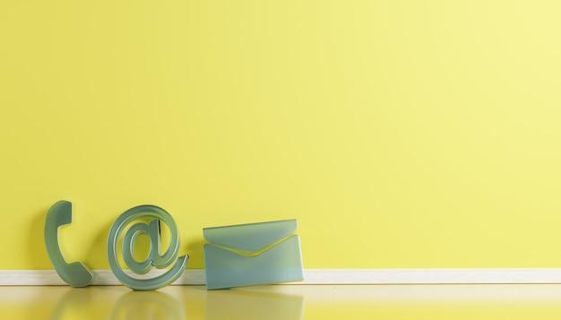 Zakelijke contactpictogrammen in magenta telefoon e-mail en adres d rendering