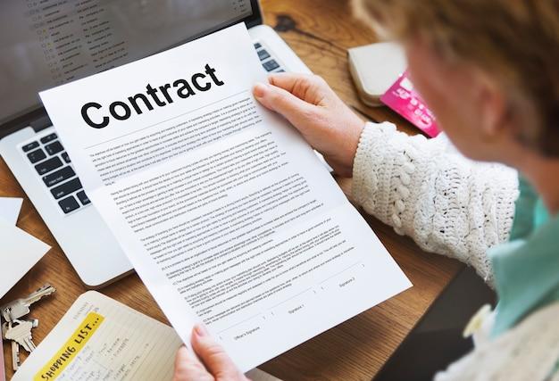 Zakelijke contractvoorwaarden juridische overeenkomst concept