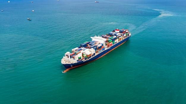Zakelijke dienstverlening verzending vrachtcontainers import en export transport internationale oceaan schrik