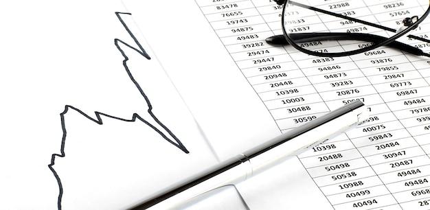 Zakelijke en financiële grafiek met glazen en pen op witte achtergrond