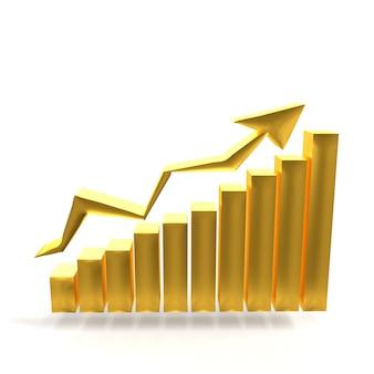 Zakelijke gouden grafiek met pijl die het succes toont. goudmarkt online gouden concept. bar gouden grafiek zakelijke groei met stijgende pijl-omhoog. 3d-weergave.