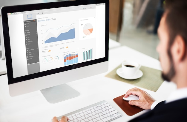 Zakelijke grafiek visuele grafische rapportconcept