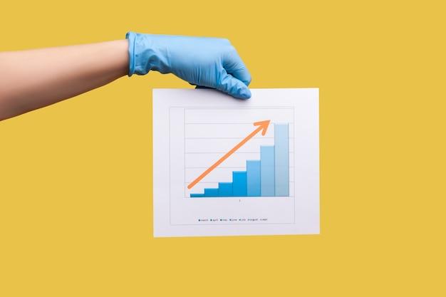 Zakelijke groei teken. menselijke hand in chirurgische handschoenen die papier voor bedrijfsgroeigrafieken vasthouden en tonen.