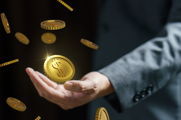 Zakelijke hand met vallende munten, vallende geld, vliegende gouden munten, regent gouden munten. 3d-weergave.