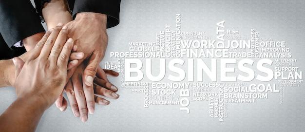 Zakelijke handel, financiën en marketingconcept. woordenwolk van trefwoorden met betrekking tot financieel.