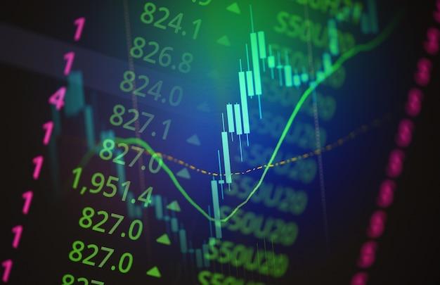 Zakelijke kaars stok grafiek grafiek van aandelenmarkt investeringen handel op achtergrondontwerp - trend van beurs grafiek markt uitwisseling financiële economie concept