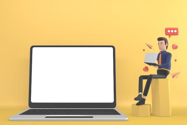 Zakelijke man mock-up op de achtergrond voor het plaatsen van productafbeeldingen.3d-rendering