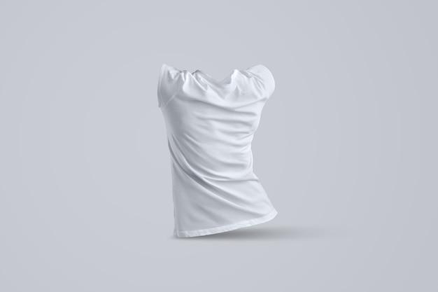 Zakelijke mockup met vorm van het witte vrouwelijke t-shirt zonder lichaam geïsoleerd op de achtergrond van de studio, achterkant weergave. sjabloon kan worden gebruikt voor uw vitrine.