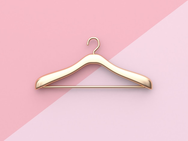 Zakelijke mode-concept gouden doek hanger minimale roze achtergrond 3d-rendering