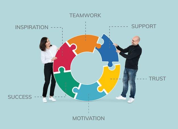 Zakelijke partners die puzzelstukjes verbinden