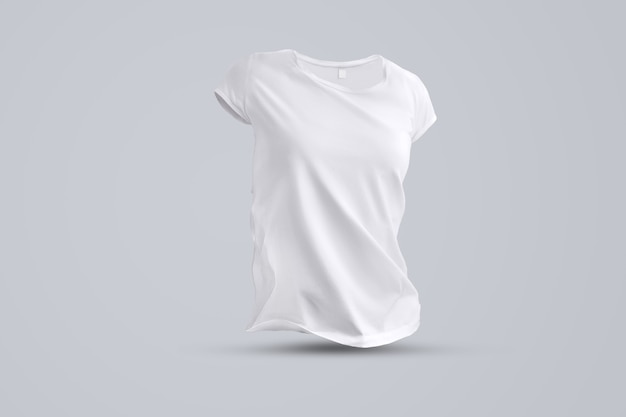 Zakelijke sjabloon met vorm van het lege vrouwelijke t-shirt zonder lichaam geïsoleerd op de grijze achtergrond, vooraanzicht. sjabloon kan worden gebruikt voor uw vitrine.