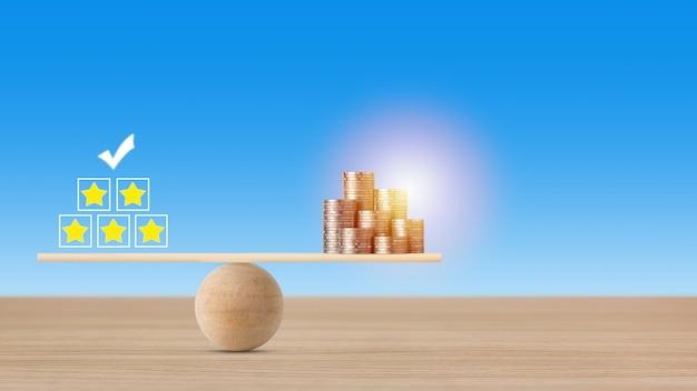 Zakelijke vijfsterrenbeoordelingservaring met geldstapelende munt op wipbalancering