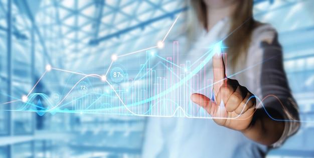 Zakelijke vrouw vinger tekent groei pijl grafiek grafiek global business industrie ontwikkeling
