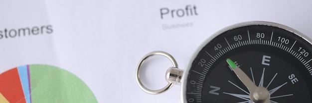 Zakelijke winstgrafiek en kompas ontwikkelingsconcept voor kleine en middelgrote bedrijven