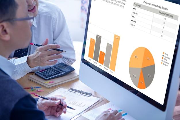 Zakenlieden die een modern computerscherm onderzoeken die bedrijfsprestaties met kleurrijke grafieken herzien.