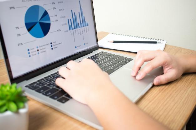Zakenlieden die met financiële grafieken aan laptops bij het bureau werken.