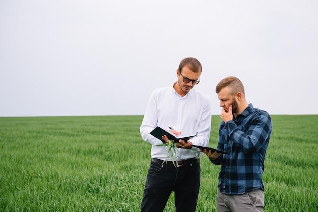 Zakenlieden staan in een tarweveld met tablet