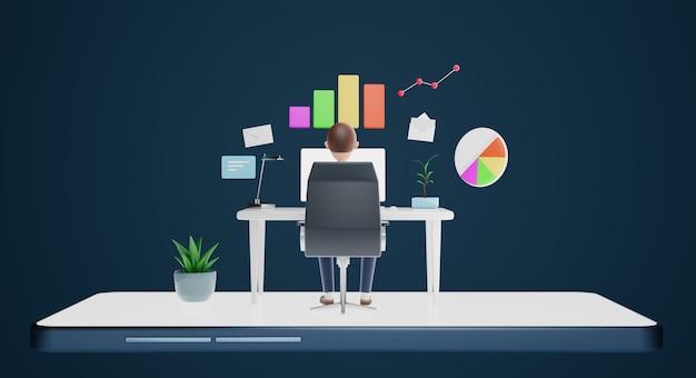 Zakenliedenkarakters die computer met marketing startegy-pictogram gebruiken. zakelijk marketingconcept. 3d-rendering.
