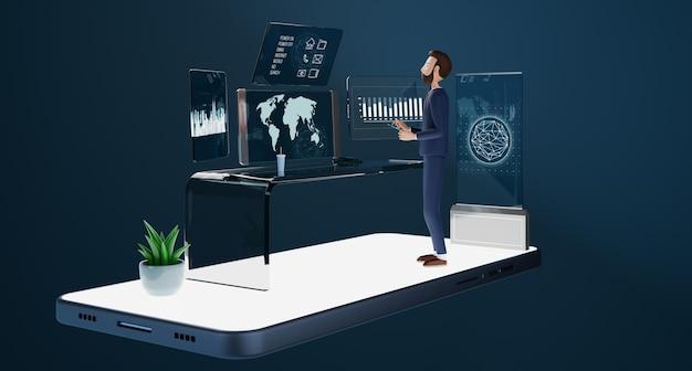 Zakenliedenkarakters die met transparante tabletpc-computer en virtuele schermenprojectie werken. toekomstige technologie business marketingconcept. 3d-rendering.
