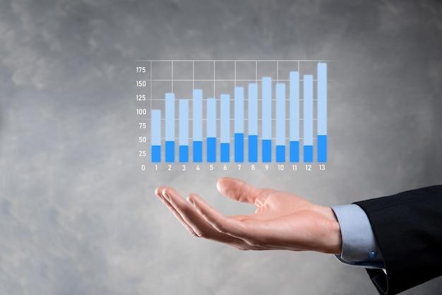 Zakenman bedrijf grafiekgroei en toename van grafiek positieve indicatoren in zijn bedrijf investering concept analyse van verkoopgegevens en economische strategie en planning digitale marketing en voorraad