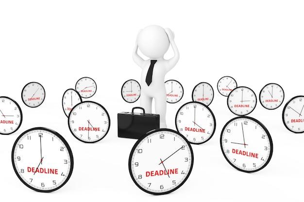 Zakenman benadrukt in het midden van veel klok met deadline teken op een witte achtergrond 3d-rendering Premium Foto