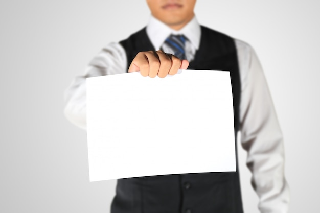 Zakenman die blanco papier