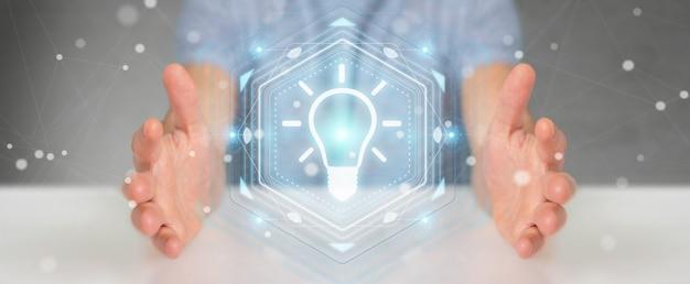 Zakenman die de interface van het lightbulbidee het 3d teruggeven gebruiken