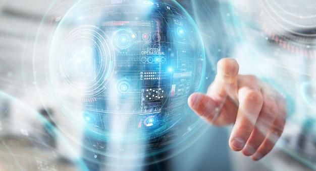 Zakenman die digitale technologische interface met datas gebruiken