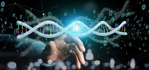 Zakenman die een 3d teruggevende gegevens gecodeerde dna met rond binair dossier houden