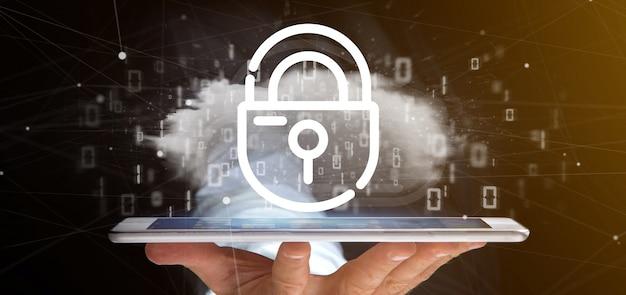 Zakenman die een binaire wolk met internet-veiligheidshangslot het 3d teruggeven houdt