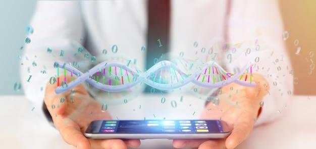 Zakenman die een gegevens gecodeerde dna met binair dossier rond houden