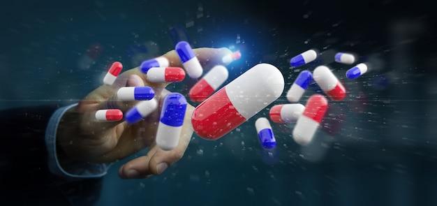 Zakenman die een groep medische pillen houdt