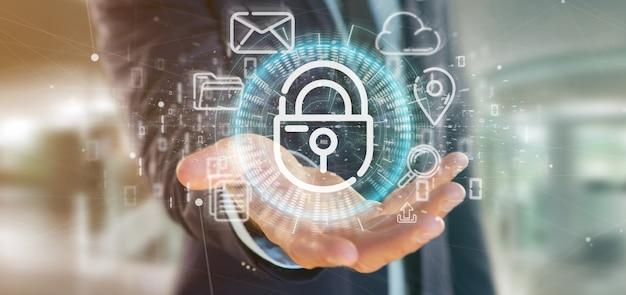 Zakenman die een het wielpictogram van het veiligheidshangslot met multimedia en het sociale media pictogram 3d teruggeven houden