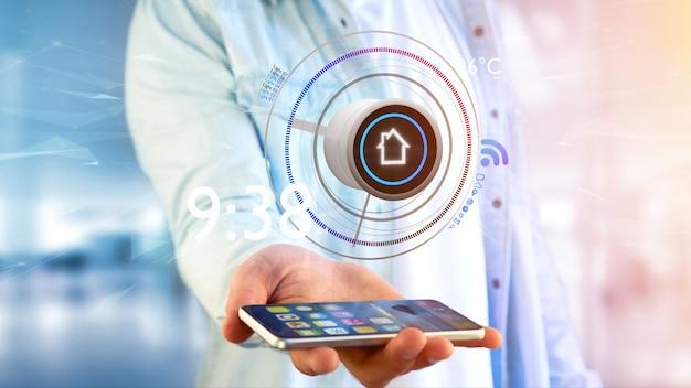 Zakenman die een knoop van een slimme huisautomatiseringsapp over het 3d teruggeven van smartphone houden