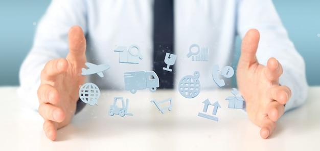 Zakenman die een logistische organisatie met pictogram en verbinding houdt